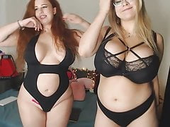 Two BBW's strip and bounce their huge tits for you