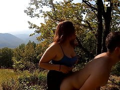 Pegging him and sex with her on the mountain. Eating Cum
